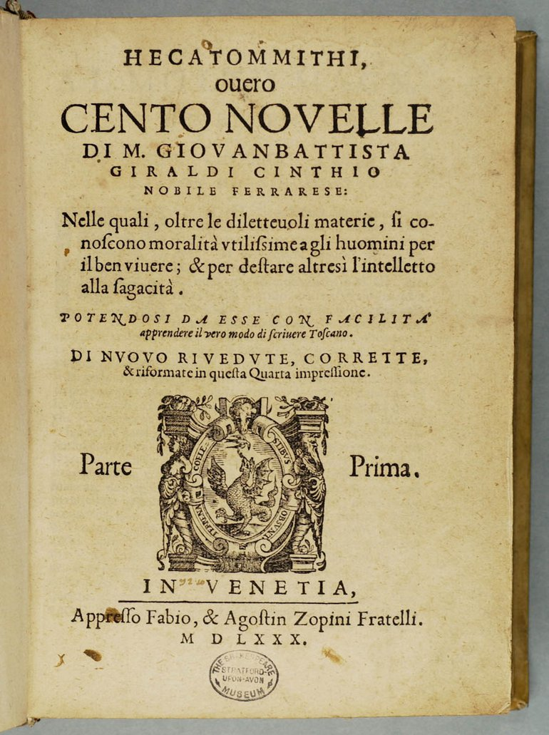 Cinthio Hecatommithi title page
