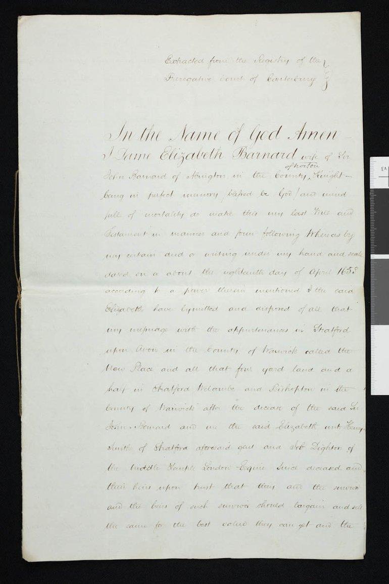 Will of Elizabeth Barnard