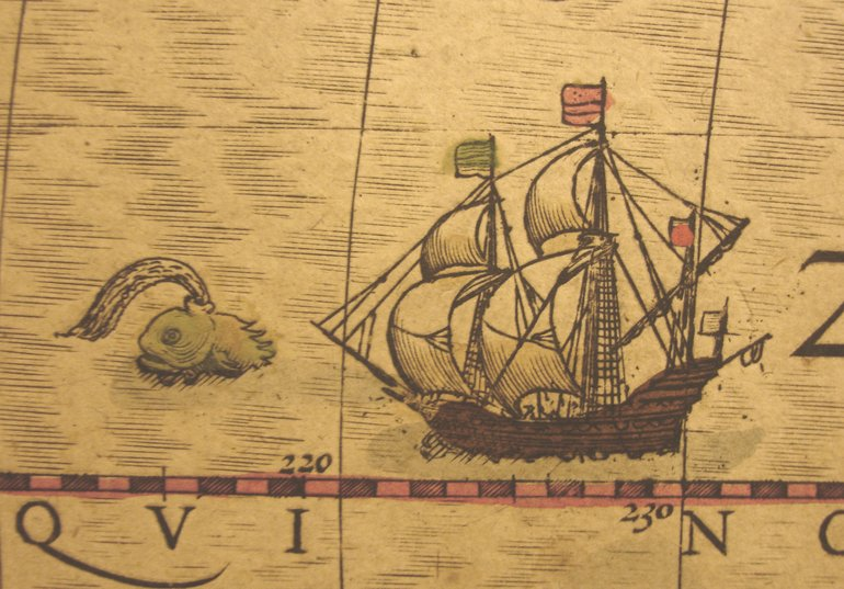 A detail from Mercator's Map of the Americas