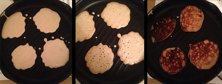 Three steps of Tudor pancake making